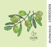 background with olive  olives... | Shutterstock .eps vector #1458302606