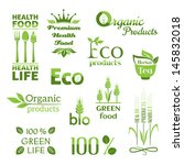 set of organic food icons.... | Shutterstock .eps vector #145832018