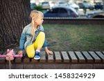 adorable blond caucasian... | Shutterstock . vector #1458324929