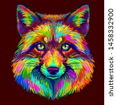 Fox. Abstract  Colorful  Neon...