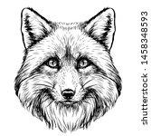Fox. Graphic  Sketch  Black...