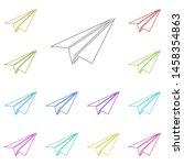 paper airplane multi color icon....