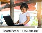 cute little chinese asian girl... | Shutterstock . vector #1458406109