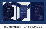 navy blue wedding invitation ... | Shutterstock .eps vector #1458424193