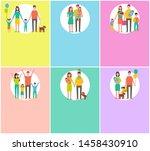 happy family loving parents... | Shutterstock . vector #1458430910
