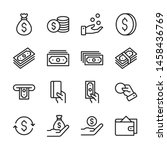 Money Line Icons Set Vector...