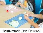 elementary school student doing ... | Shutterstock . vector #1458441866