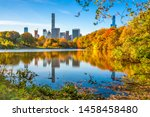 central park during autumn in... | Shutterstock . vector #1458458480
