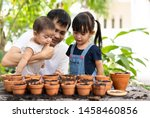 asian father teaching his child ... | Shutterstock . vector #1458460856