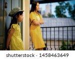 asian child girl wearing yellow ... | Shutterstock . vector #1458463649