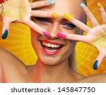 beautiful smiling woman... | Shutterstock . vector #145847750