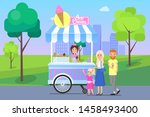 ice cream stand and family with ... | Shutterstock . vector #1458493400