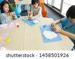 elementary school student doing ... | Shutterstock . vector #1458501926