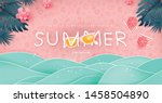 summer sale design with paper... | Shutterstock .eps vector #1458504890