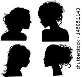 vector silhouettes of girls... | Shutterstock .eps vector #145851143