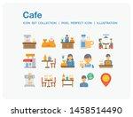 cafe icons set. ui pixel...