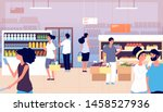 people in grocery store.... | Shutterstock .eps vector #1458527936