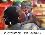 children and mothers carried... | Shutterstock . vector #1458535619
