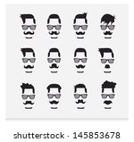 face with mustaches  hipster  | Shutterstock .eps vector #145853678