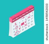 mark calendar isometric icon.... | Shutterstock .eps vector #1458542033