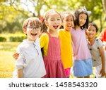 multi ethnic group of school... | Shutterstock . vector #1458543320