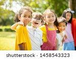 multi ethnic group of school... | Shutterstock . vector #1458543323