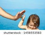 beautiful hands of parent and... | Shutterstock . vector #1458553583