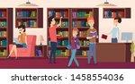 library background. bookshelves ... | Shutterstock .eps vector #1458554036
