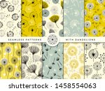 dandelion seamless. wind... | Shutterstock .eps vector #1458554063