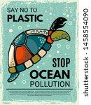 turtle poster. ornamental... | Shutterstock .eps vector #1458554090