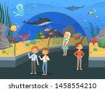 kids in aquarium. family walk... | Shutterstock .eps vector #1458554210