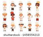 cooking childrens. little funny ... | Shutterstock .eps vector #1458554213