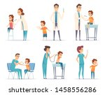kids vaccinating. doctor gives... | Shutterstock .eps vector #1458556286
