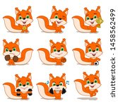 collection of funny squirrel... | Shutterstock .eps vector #1458562499