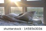 empty bed in modern hotel room... | Shutterstock . vector #1458563036