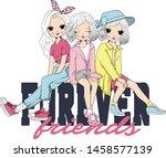 cute girl fashion t shirt print | Shutterstock .eps vector #1458577139
