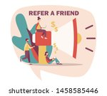 refer a friend concept. flat...