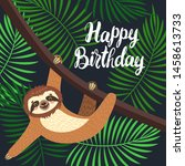 sloth on the branch. vector... | Shutterstock .eps vector #1458613733