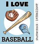i love baseball cute postcard...   Shutterstock .eps vector #1458622649