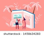 tiny women characters looking... | Shutterstock .eps vector #1458634283