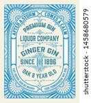vintage gin label template.... | Shutterstock .eps vector #1458680579