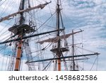 masts of an old vintage ship on ... | Shutterstock . vector #1458682586