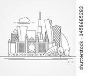 dubai. uae  detailed silhouette....   Shutterstock .eps vector #1458685283