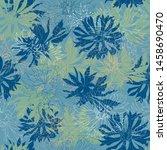 vintage floral dark background. ... | Shutterstock .eps vector #1458690470