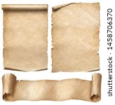 Small photo of Old paper or parchment scrolls set isolated on white