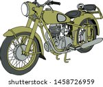 vintage retro motorcycle or... | Shutterstock .eps vector #1458726959