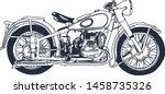 outline or line art vintage... | Shutterstock .eps vector #1458735326