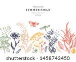 summer wild flowers background. ... | Shutterstock .eps vector #1458743450