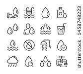 water line icons set. modern... | Shutterstock .eps vector #1458748223