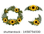 Set Of Wreaths With Sunflowers. ...
